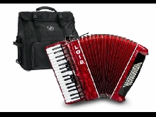 Accordeon Concertina pour Debutant 72 Basses 34 Touches Piano Rouge Set Housse